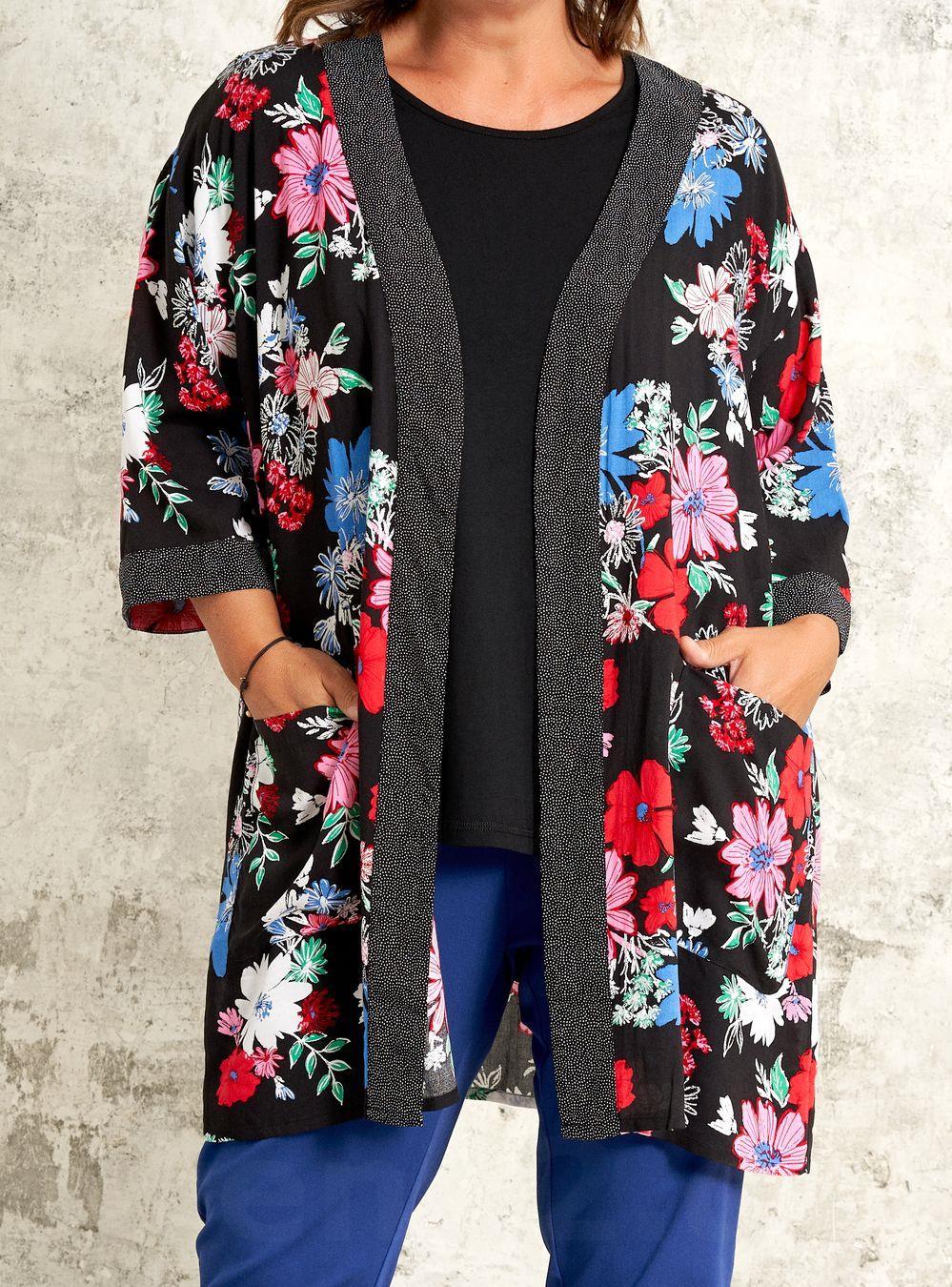 98f3d43b Lækker Viskose Kimono i Blomstret Print Gozzip - Trend2.dk