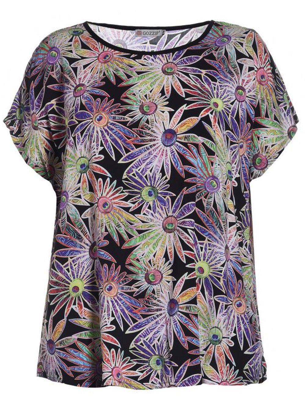 81be1b1e Skøn Plussize Bluse i Multi Blomstret Print i str. 42-56, G183014
