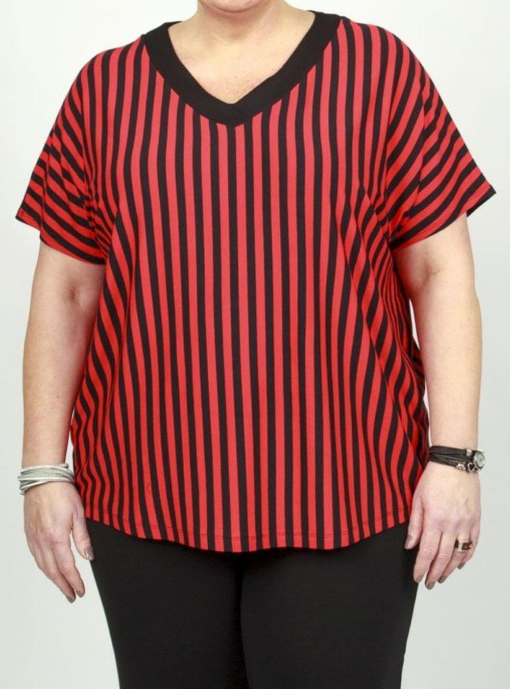 rød stribet bluse