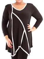 Smart Tunika i plussize str. 42-58 - sort med hvide kanter