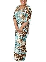 Plussize Festkjole over alle! Lang Turkis Leopard Print Kjole fra No. 1 by OX - 61030P